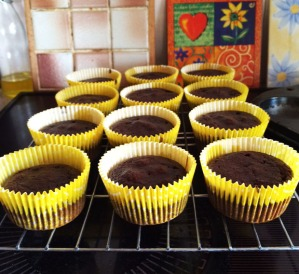 Cupcakes cooling on rack